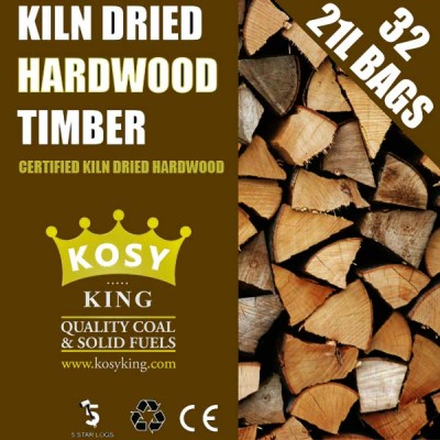 Kiln Dried Hardwood Logs (32 x 21L Bags)